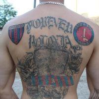 Polonia Bytom tatuaż na plecach
