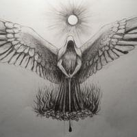 Postać ze skrzydłami wzór tatuażu