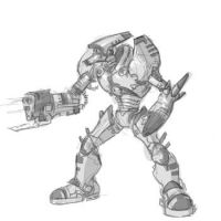 Robot z bronią w rękach wzór tatuażu