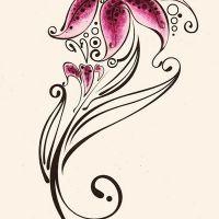 Różowa lilia tribal wzór