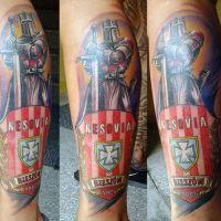 Rycerz w zbroi tatuaż Resovia Rzeszów