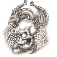 Smok i czaszka wzór tatuażu