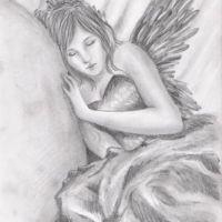 Śpiący anioł wzór tatuażu