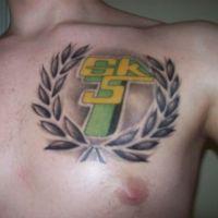 Symbol Górnik Łęczna tatuaż