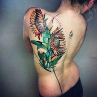 Tatuaż graficzny słoneczniki