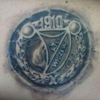Tatuaż kibica Widzew Łódź