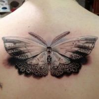 Tatuaż koronkowy motyl 3D