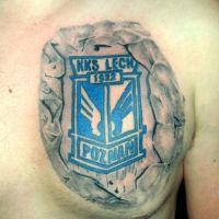Tatuaż logo Lech Poznań