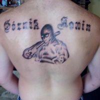 Tatuaż na plecach Górnik Konin