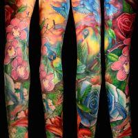 Tatuaż ptaki i kwiaty
