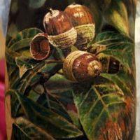 Tatuaż żołędzie i liście