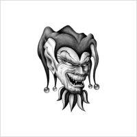 Twarz klauna w czapce tatuaż wzór