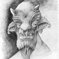 Twarz monstera tatuaż wzór