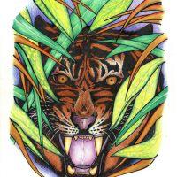 Tygrys w kolorowym gąszczu