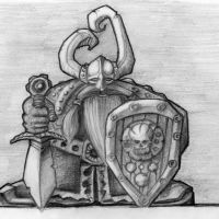 Wiking rycerz z tarczą i mieczem