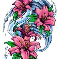 Wzór różowe lilie na wodzie