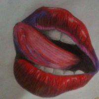 Wzór tatuażu czerwone usta