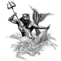 Wzór tatuażu Neptun i statek