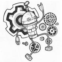 Wzór tatuażu robot i części