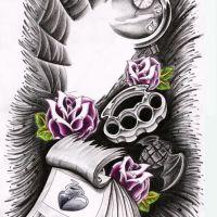 Wzór z kartkami i kwiatami