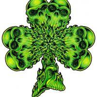 Zielona koniczynka z czaszkami wzór