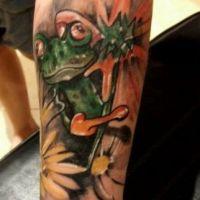Zielona żaba tatuaż