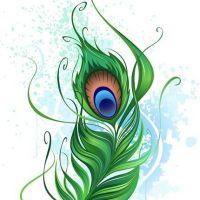Zielone pawie piórko wzór tatuażu