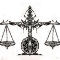 Znak zodiaku waga wzór tatuażu