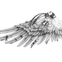 Zniszczone biale skrzydło wzór tatuażu