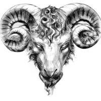 Zodiakalny baran głowa wzór tatuażu