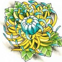 Żółta chryzantema wzór tatuażu