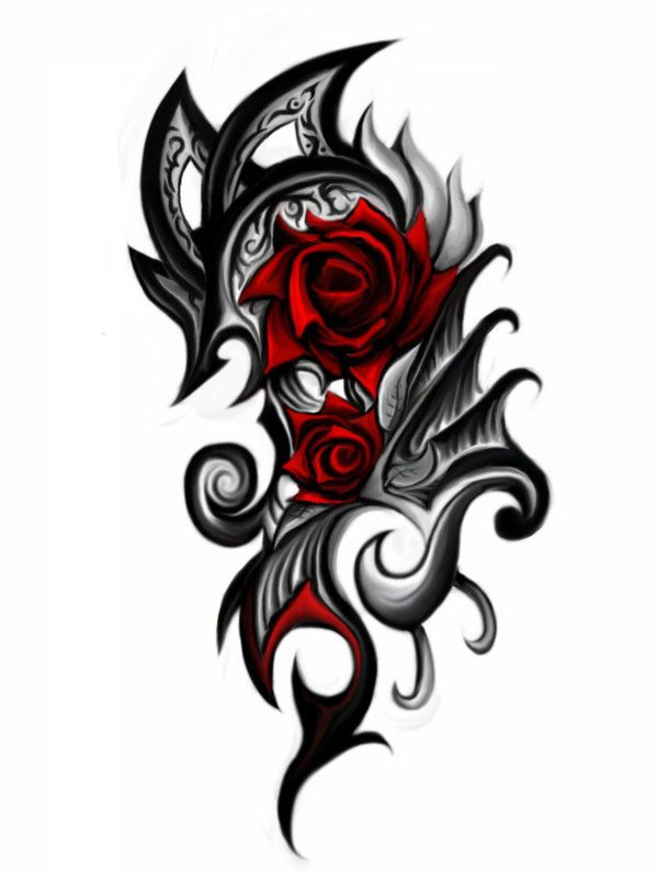 Tribal Czerwone Róże Tatuaż Wzór
