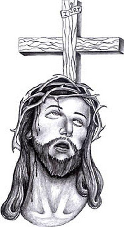 Twarz Jezusa i krzyż wzór tatuażu