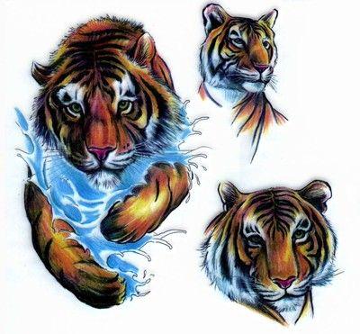 Tygrys i woda wzór tatuażu