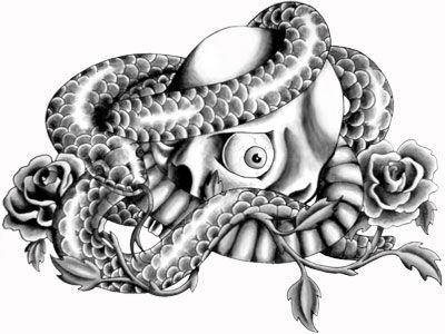 Wąż oplatający czaszkę wzór tatuażu
