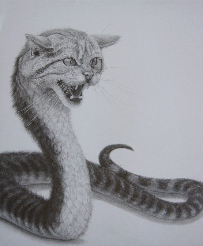 Wąż z głową kota tatuaż wzór
