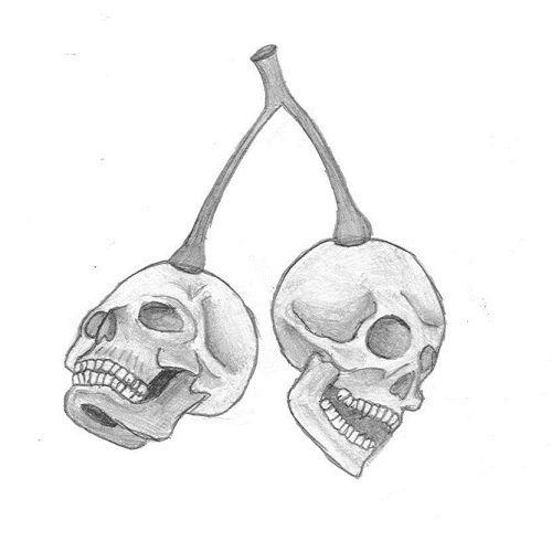 Wisienki czaszki wzór tatuażu