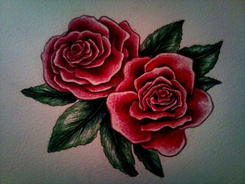 Wzór tatuażu dwie czerwone róże