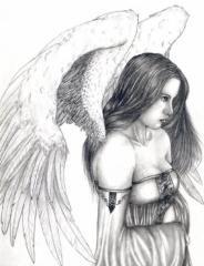 Wzór tatuażu kobieta anioł