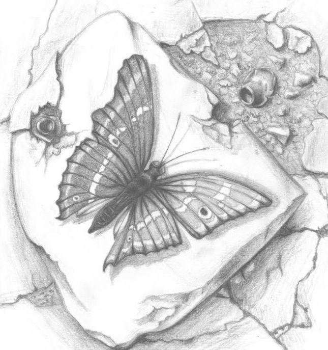 Wzór tatuażu motyl na kamieniu