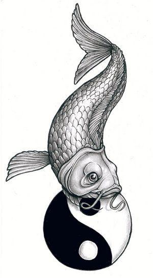 Wzór tatuażu ryba i symbol