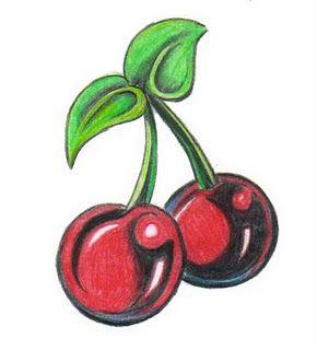 Wzór tatuażu z wiśniami