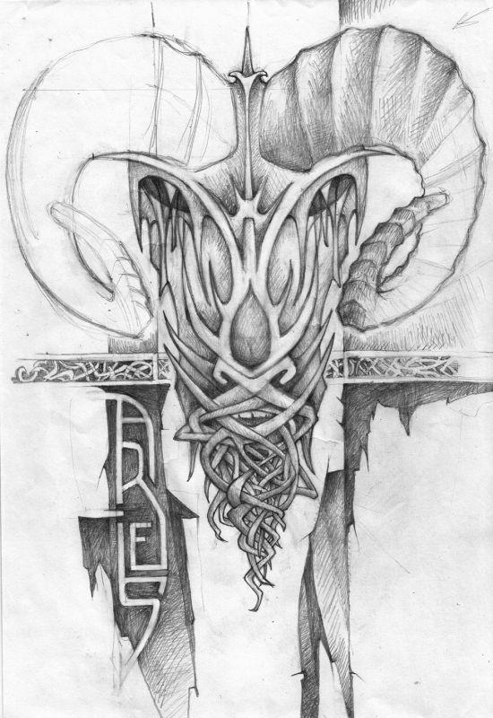 Zakręcone rogi baran tatuaż wzór