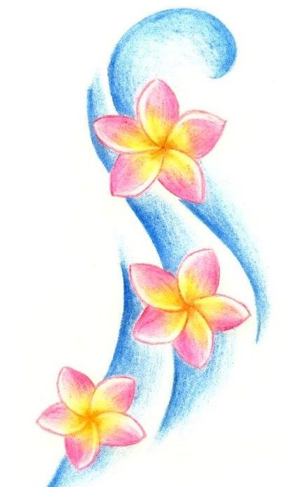 Zółto-różowe kwiatki wzór tatuażu