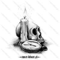 Czaszka z zegarem i świecą