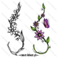 Gałązki z kwiatami i motyl