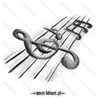 Klucz wiolinowy z nutami