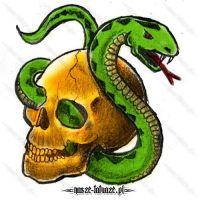 Złota czaszka i wąż