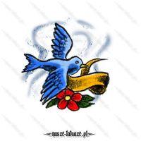 Niebieski ptak ze wstążką