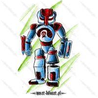 Niebiesko-czerwony robot